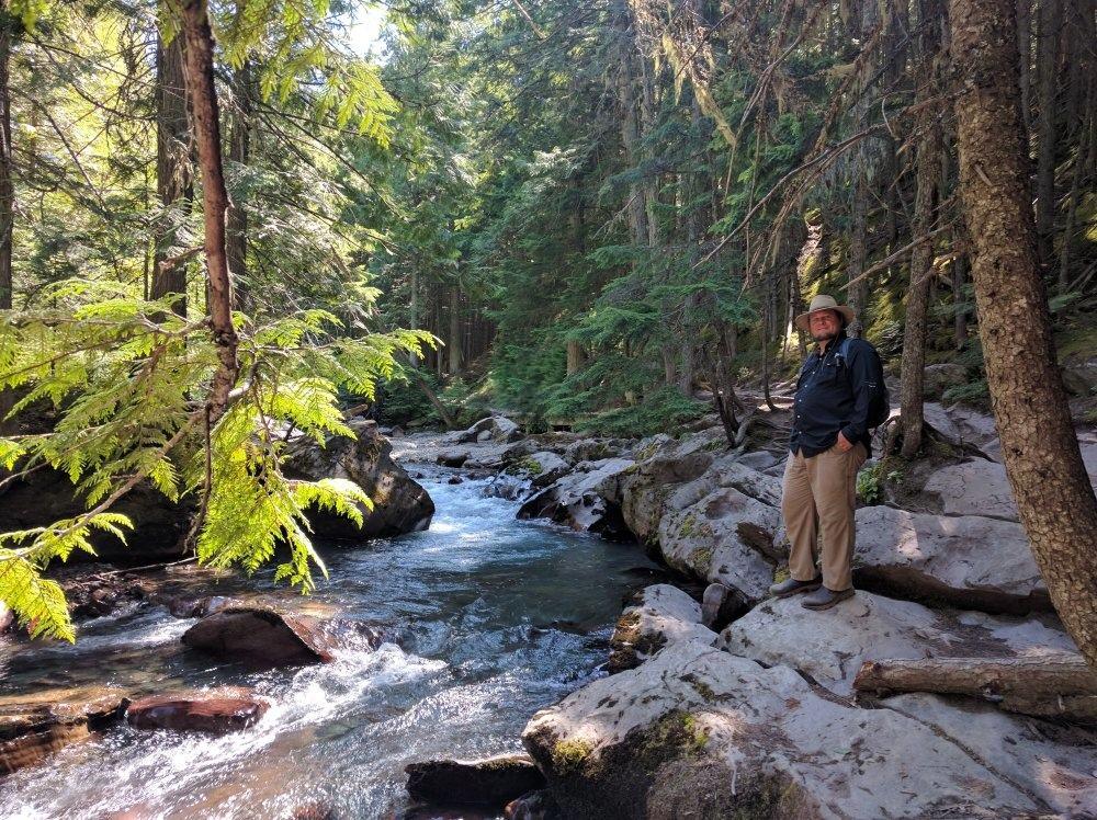 Avalanche Creek flows westward toward Haystack Creek and then flows into McDonald Lake