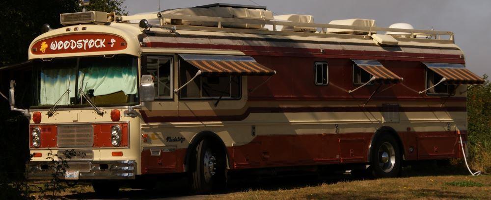 A large vintage bus conversion.