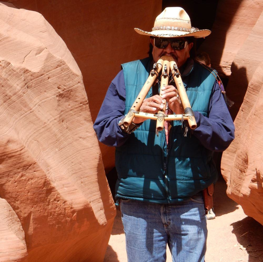 The man, the legend, Leonard Paz and his magical triple flute.