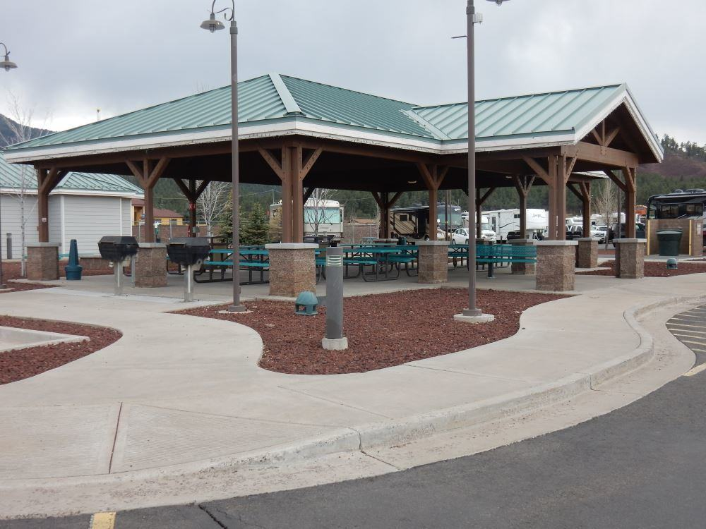 The picnic area. Shiny and new with lots of gas grills to use.