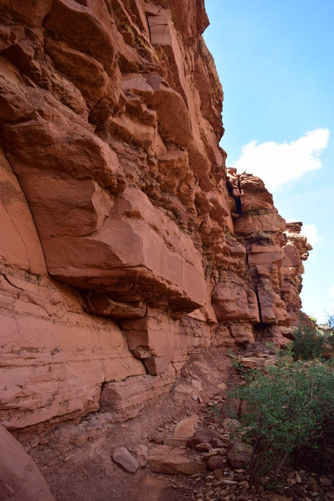 Chocolate Brown Cliffs above the trail