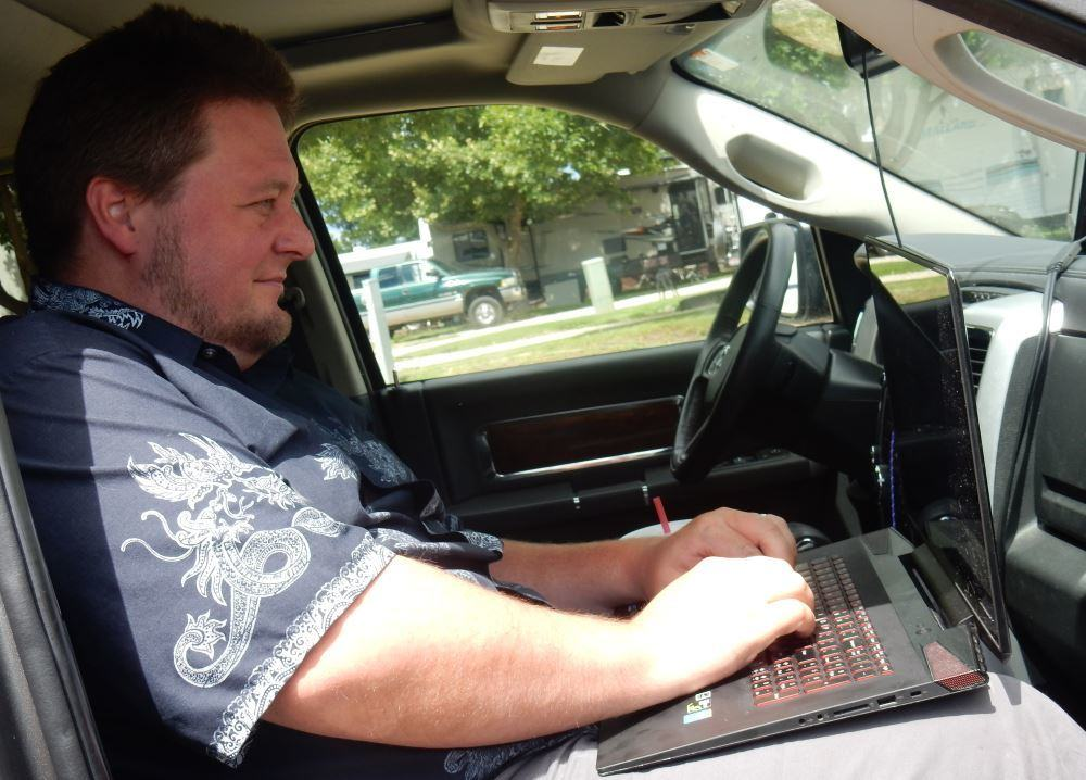 Blogging in a truck?  Yep, if Trail is on a long shopping trip. It even has a 120 volt outlet.