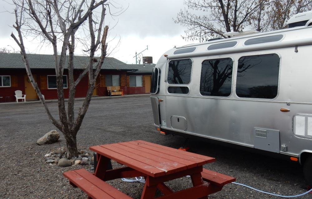 Here is our Airstream, the Yamato, hitched up at the Hitch N Post.