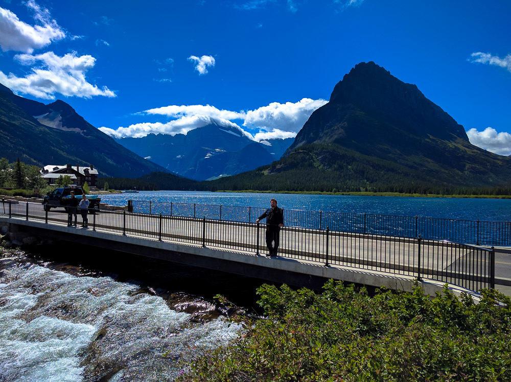 On the bridge to Many Glacier Hotel