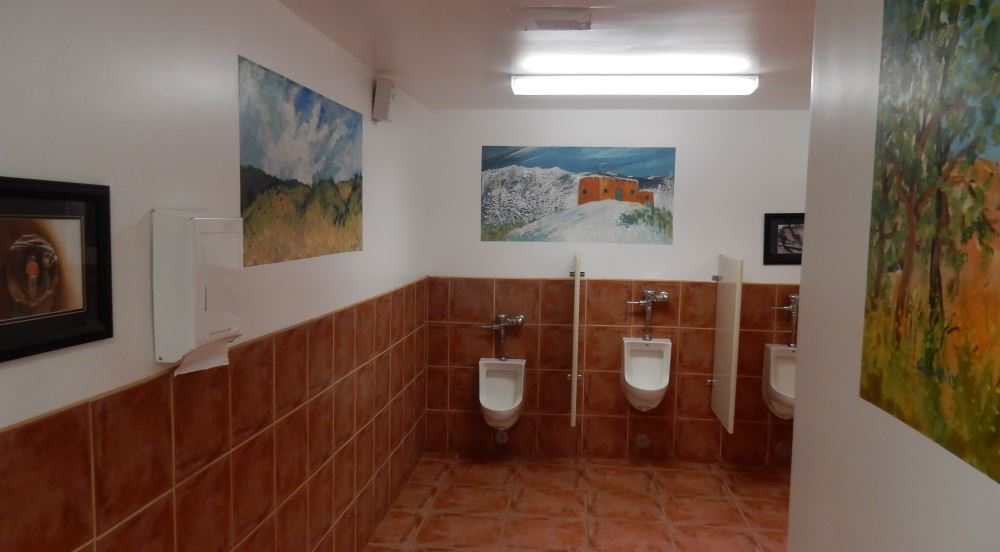 Finally a bathroom worthy of a picture in a review. Trail reports the ladies room includes a sit down hair dryer.