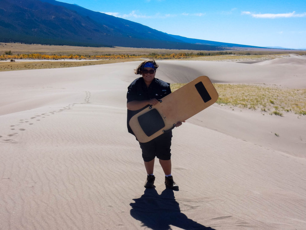 Trail with her Sandboard Sled