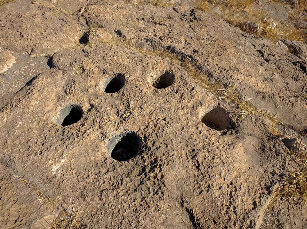 Mortar holes left by native peoples.