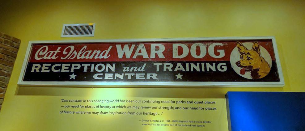Cat Island War Dog Sign