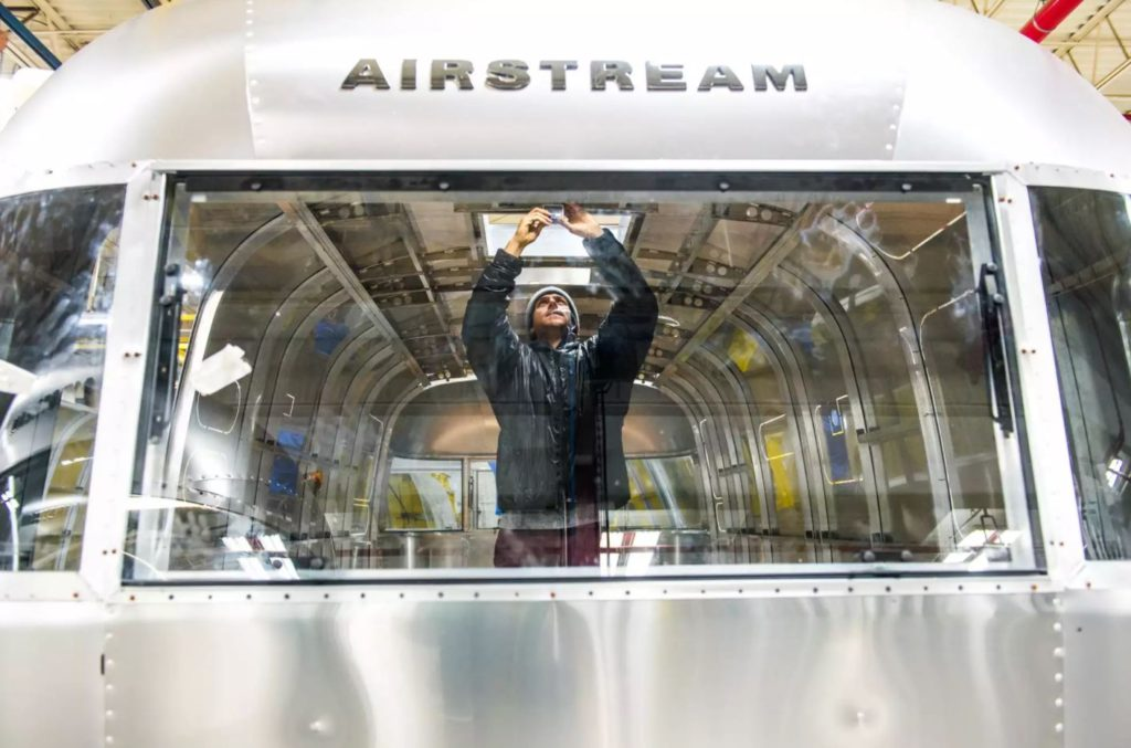 Once the Airstream shell is assembled, interior installs begin.