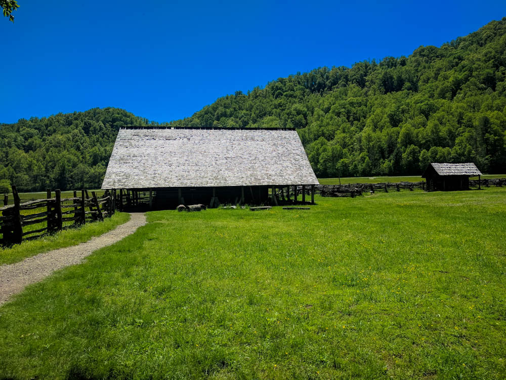 An old barn found at the Mountain Farm Museum