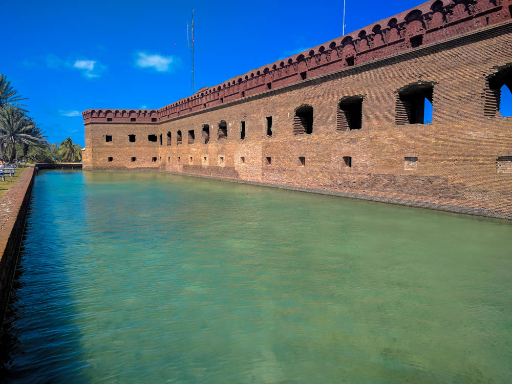 The moat wall, or counterscarp, was also intended to protect the fort from wave action and storm surge by serving as a breakwater.