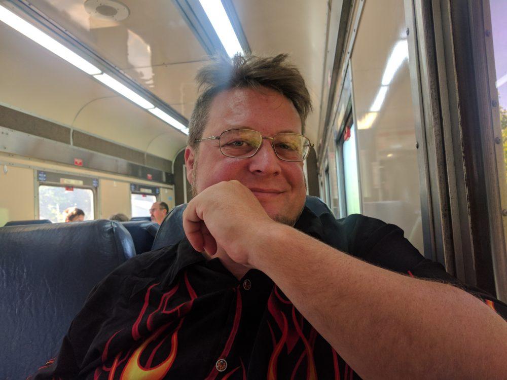 Hitch enjoys the train