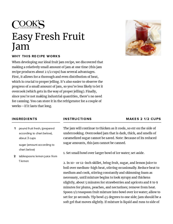 Easy Fresh Fruit Jam